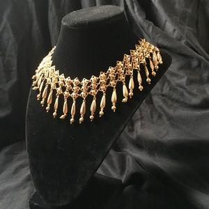 vintage Egyptian Revival  Gold Tassel Necklace